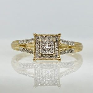 10K Gold Princess Cut Diamond Halo Ring